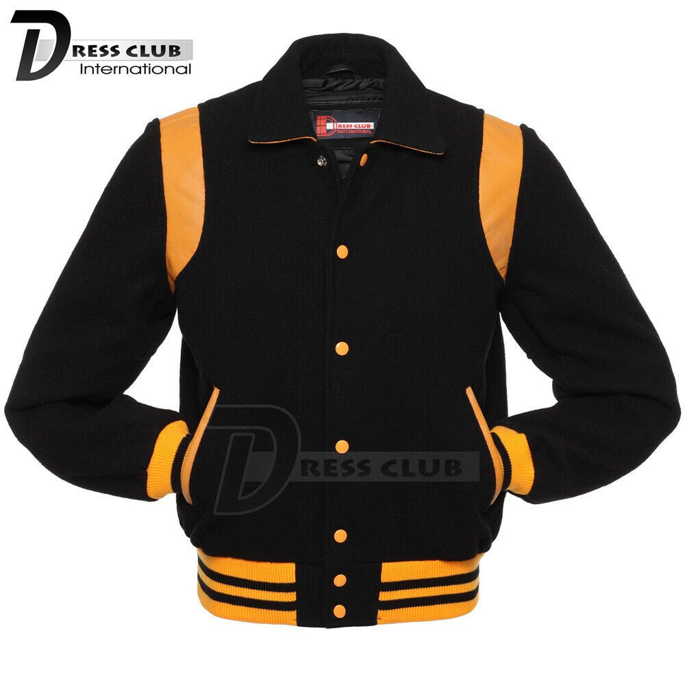 Super Varsity Letterman Bomber Baseball Jacket Red Body /& Gold Leather Sleeves