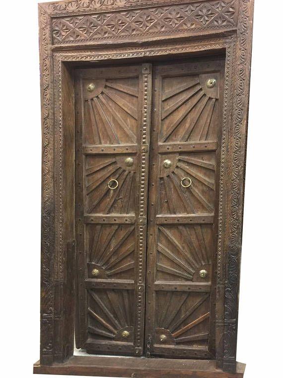 #door #antiquedoor Sunshine Farmhouse Antique Indian Doors Hand Carved  Haveli - 18c COMMERCIAL Hotel Design SURYA Hand Carving Farmhouse Antique