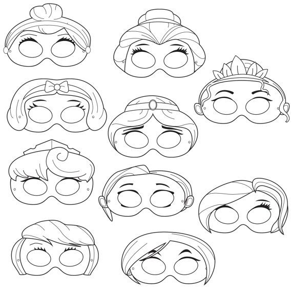 Princesses Printable Coloring Masks, princess masks, princesses