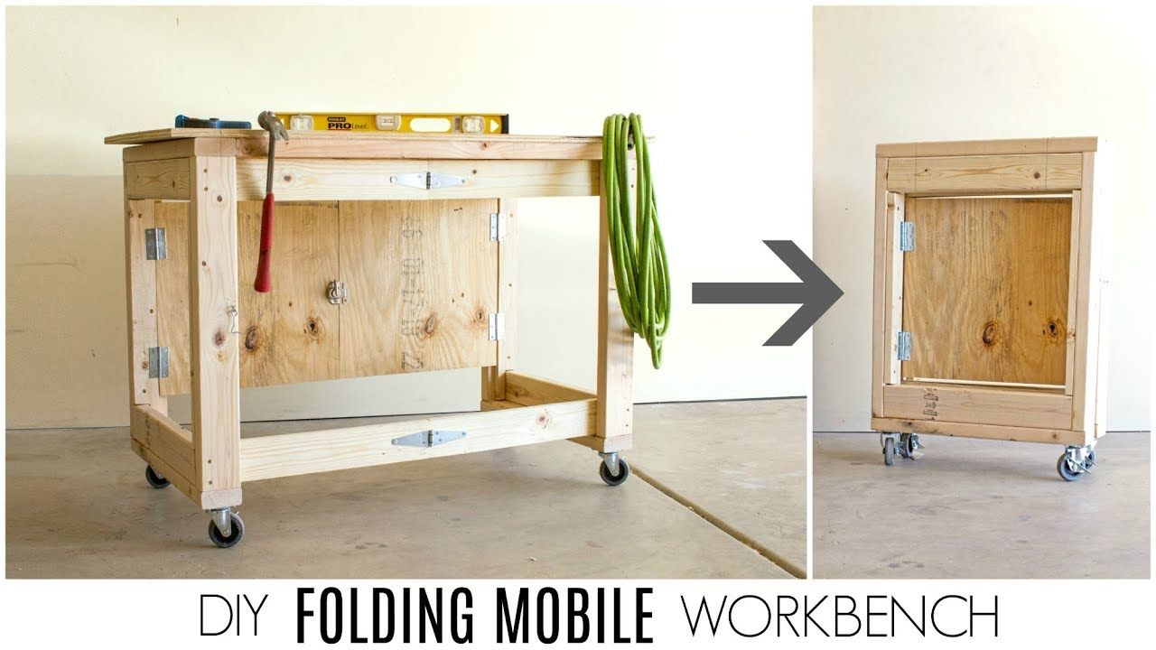 Diy Folding Mobile Workbench Youtube With Images Mobile
