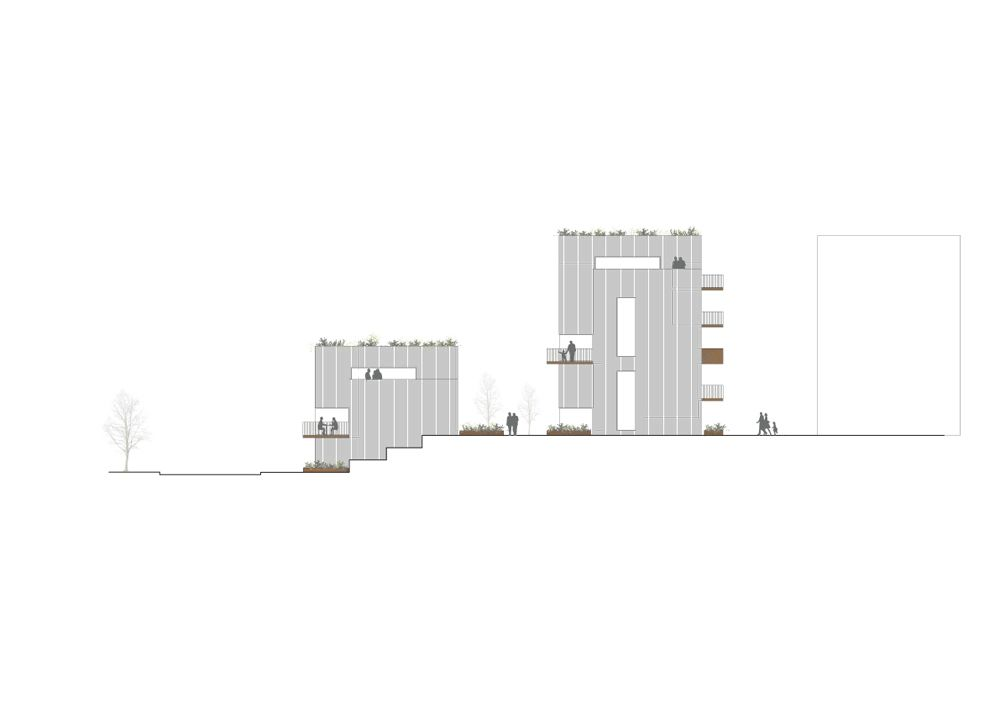 Sustainable Town Houses / C.F.Møller Architects,South West Elevation © C.F. Møller Architects