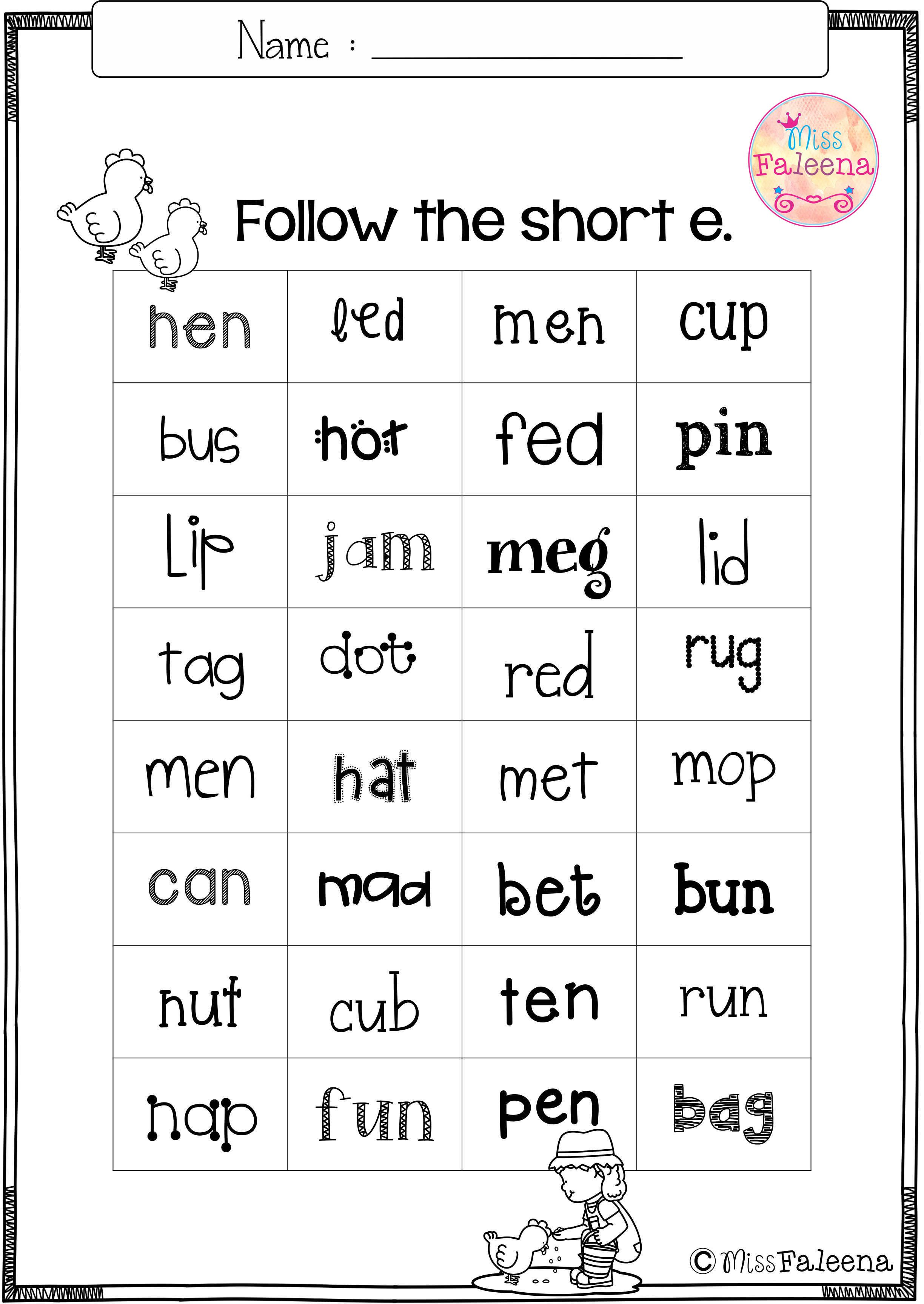 small resolution of Free CVC Short E is designed to help teach children to read