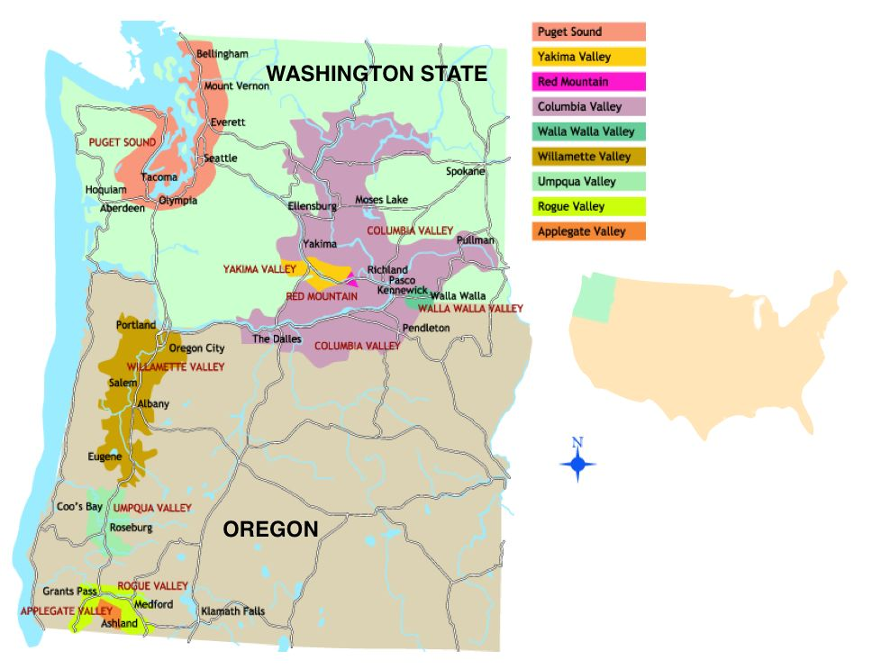 pacific northwest wine map Google Search bar ideas Pinterest