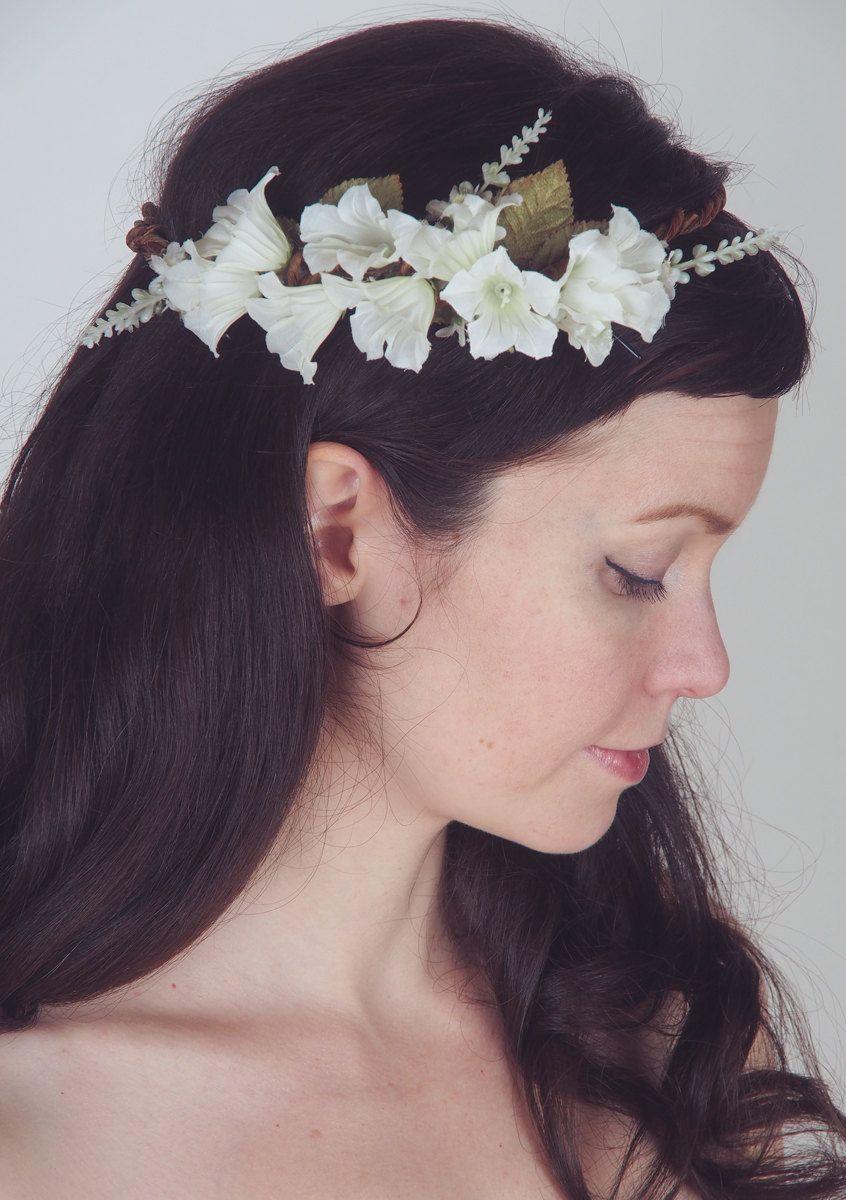 Sweet Floral Head Wreath - Woodland Wedding Bridal Crown - White ...