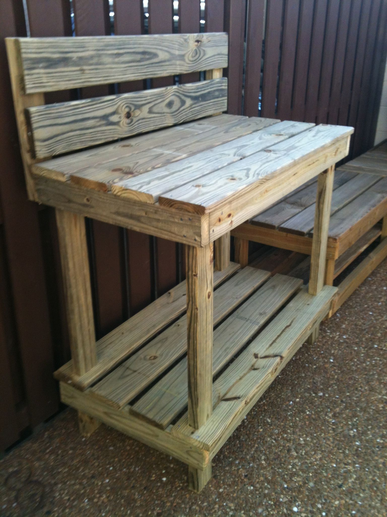 Garden Work Bench With High Back.
