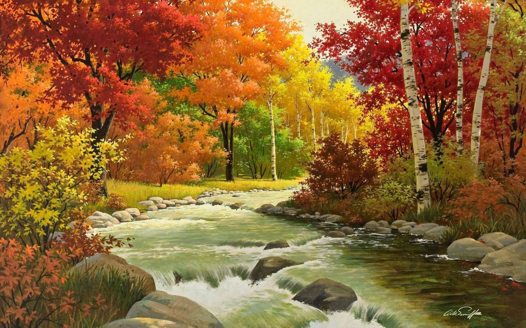 Musim Gugur Pemandangan Lukisan Sungai Kayu Diany