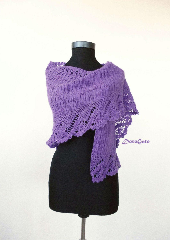 Crochet shawl PATTERN, lace stole pattern, triangle shawl pattern ...