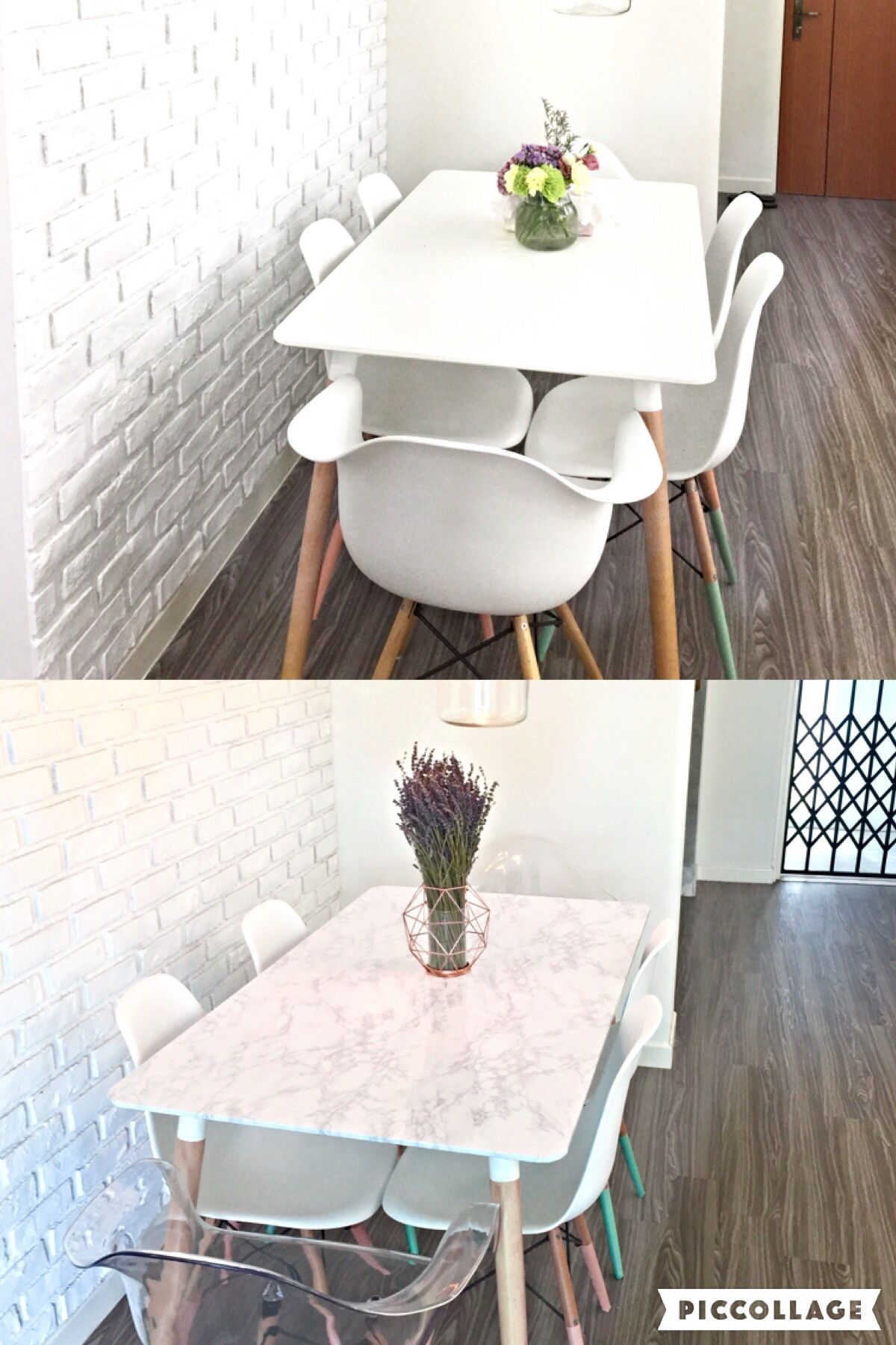 Before and after Simple Dining table DIY makeover using marble