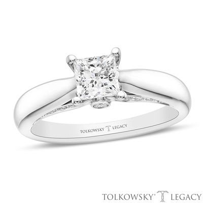 Tolkowsky®+Legacy+7/8+CT.+T.W.+Certified+Princess-Cut+Diamond+Solitaire+Engagement+Ring+in+14K+White+Gold+(I/SI2)