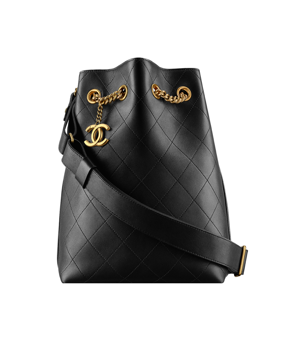 e81679c5e5e9e7 Drawstring bag, calfskin & light gold metal-black - CHANEL ...