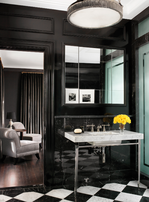 black and white bathroom with a pop of color | Home, White ...