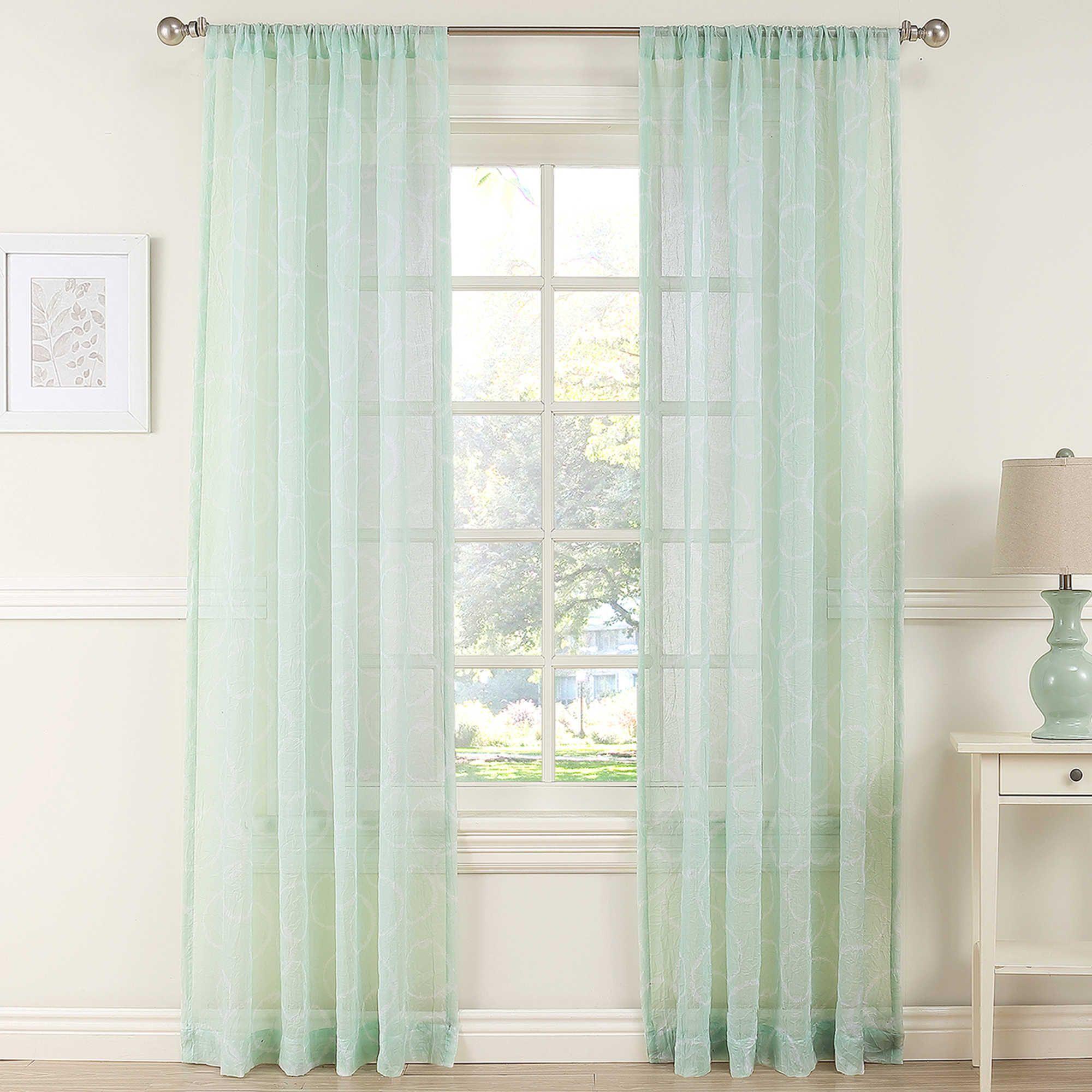 Daydreamer Sheer Window Curtain Panel In Mint Green Sheer