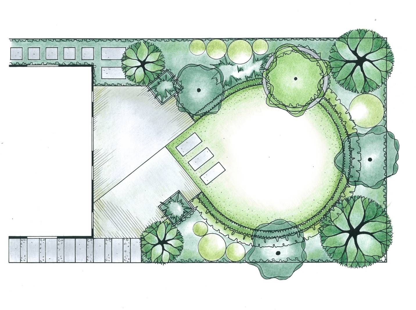 garden plan layout with a diagonal them combined with circles for energy and directing the eye - Garden Design Layout Plans