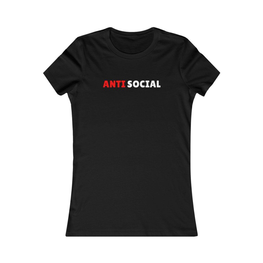 Anti-Social Women's Bella T-Shirt | Women's Favorite Tee A word from the designer: Some days you just feel like keeping to yourself and staying in your own respective lane. Some may refer to it being antisocial behavior ... we prefer to call it focusing more on ourselves at that moment. Enjoy your new wardrobe attire. S.J. Corbyn .: Slim fit with longer body length .: 100% Soft cotton (fibre content may vary for different colors) .: Light fabric (4.2 oz/yd² (142 g/m²)) .: Sewn in label .: Runs s