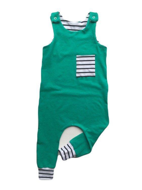 Boy Harem Romper / Green White Black Striped by whitewillowkids ...