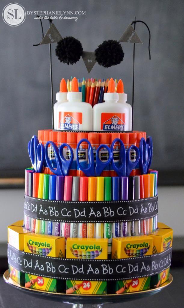 back to school supply cake
