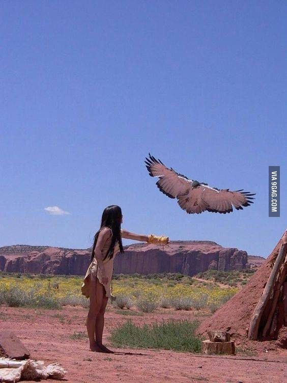 Native American girl with her eagle