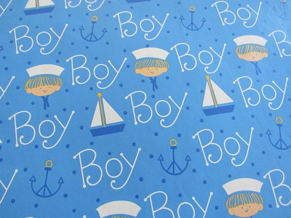 Unused Vintage 1980s Baby Boy Gift Wrapping Paper 1 Sheet 20 X 30