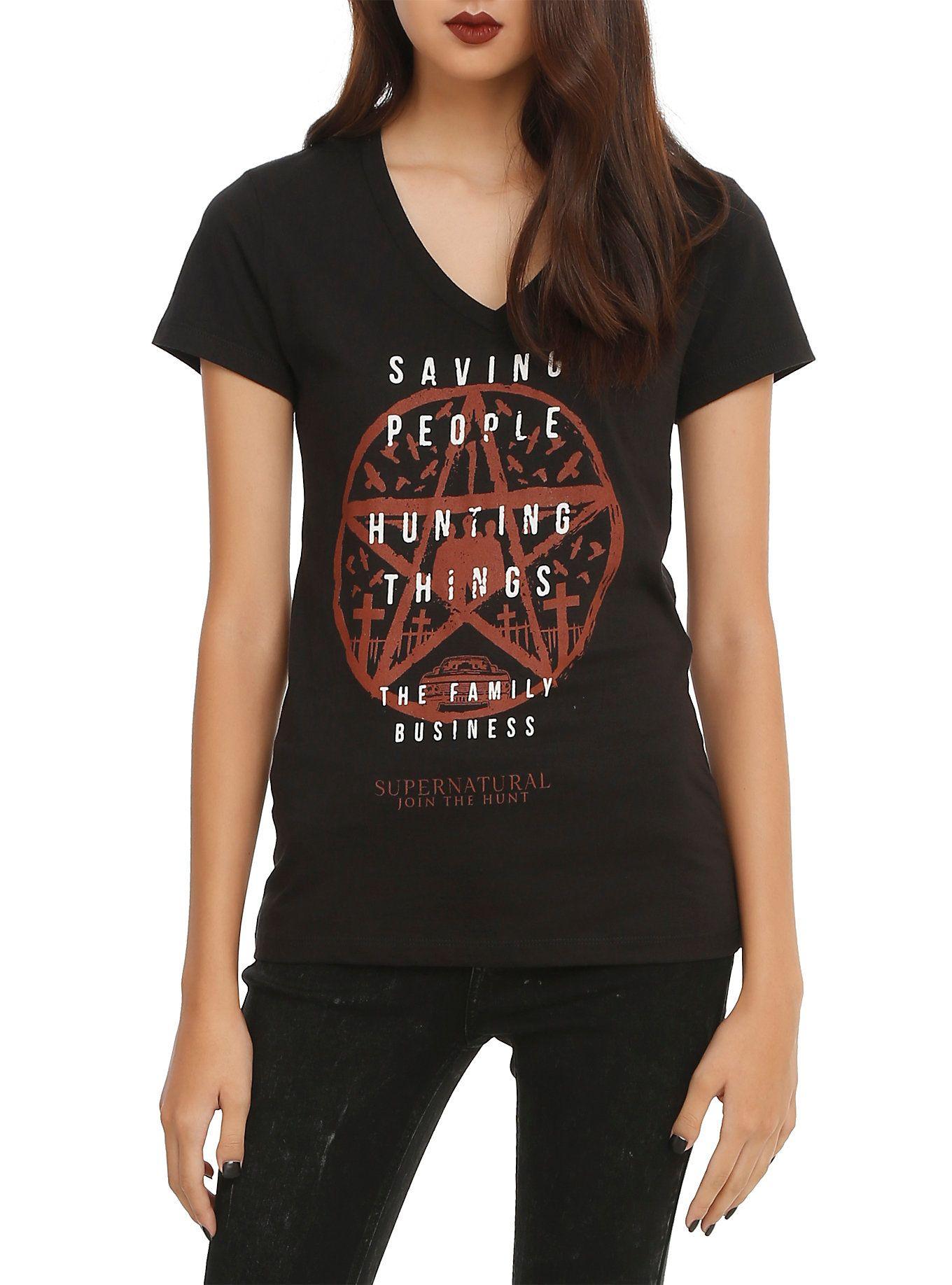 b20c872ed Supernatural Family Business Girls V-Neck T-Shirt | Hot Topic ...