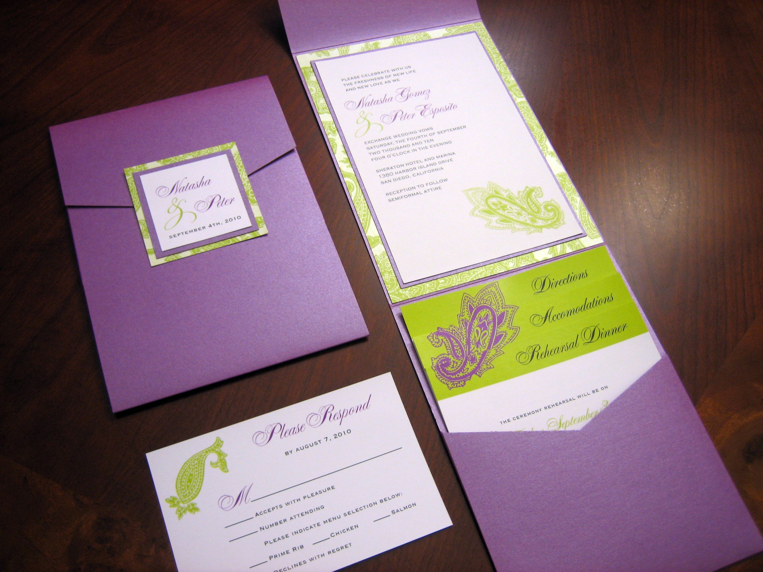 The Wedding Invitations Purple And Green Pinterest Weddings