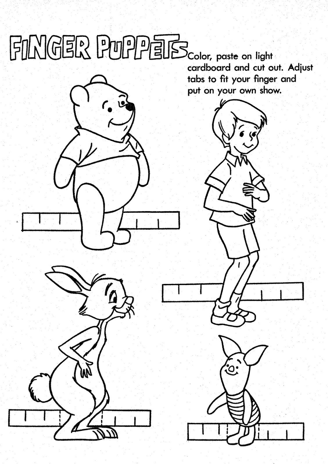 Mostly Paper Dolls Winnie The Pooh Finger Puppets