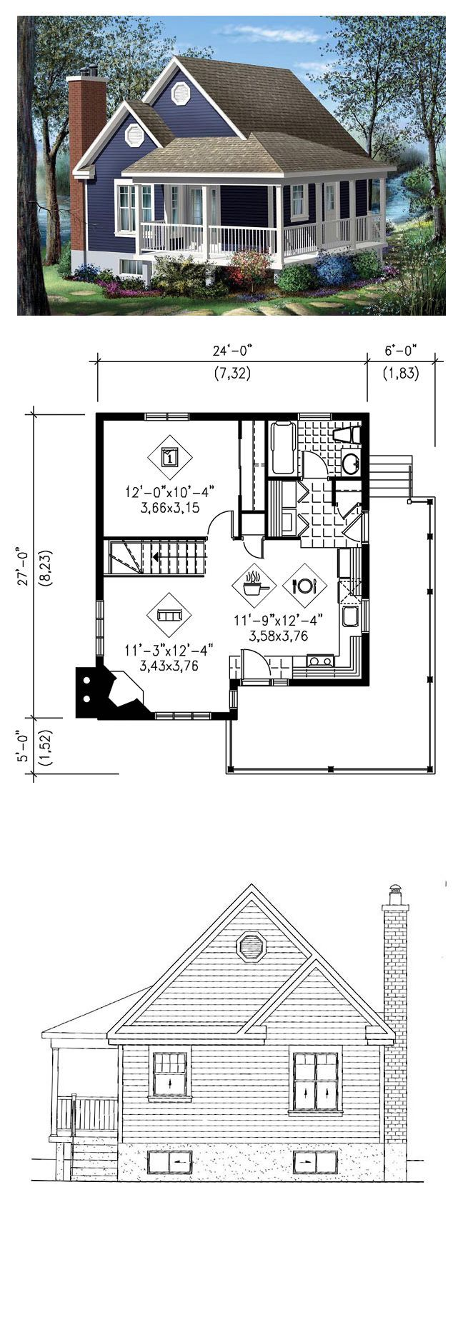 Country Living House Plans  Narrow Lot House Plan 49824  Total Living  Area: 613