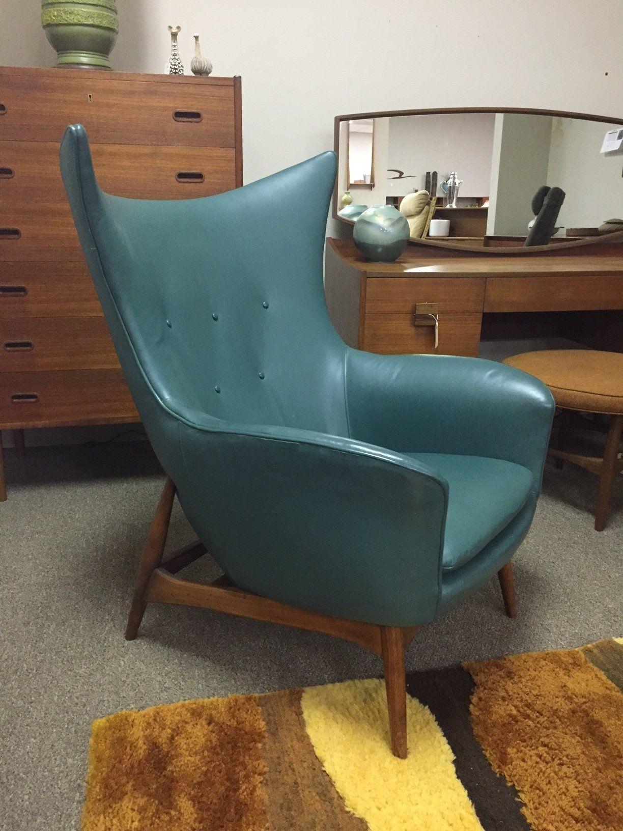 Mid century wing lounge chair by j b van sciver modern retro danish modern midcentury