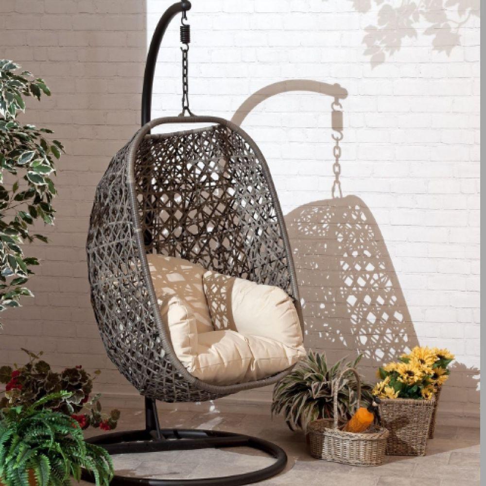 Swing Rattan Effect Poly Cocoon Hanging Egg Chair Brampton