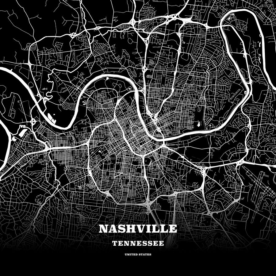 Black map poster template of Nashville Tennessee USA