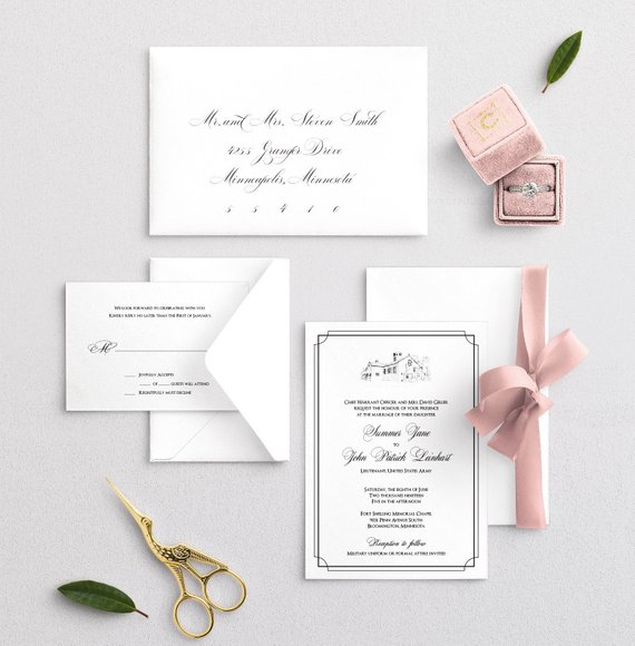 Custom Venue Sketch Wedding Invitation Set Pen Art Work Etsy Wedding Invitation Sets Printing Wedding Invitations Wedding Invitations