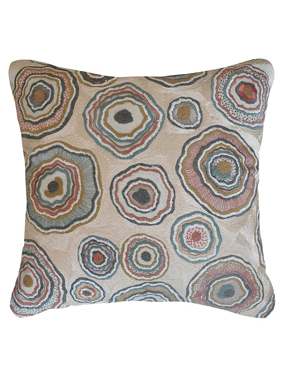 Buy minuscule multicolored embroidered cotton linen cushion cover