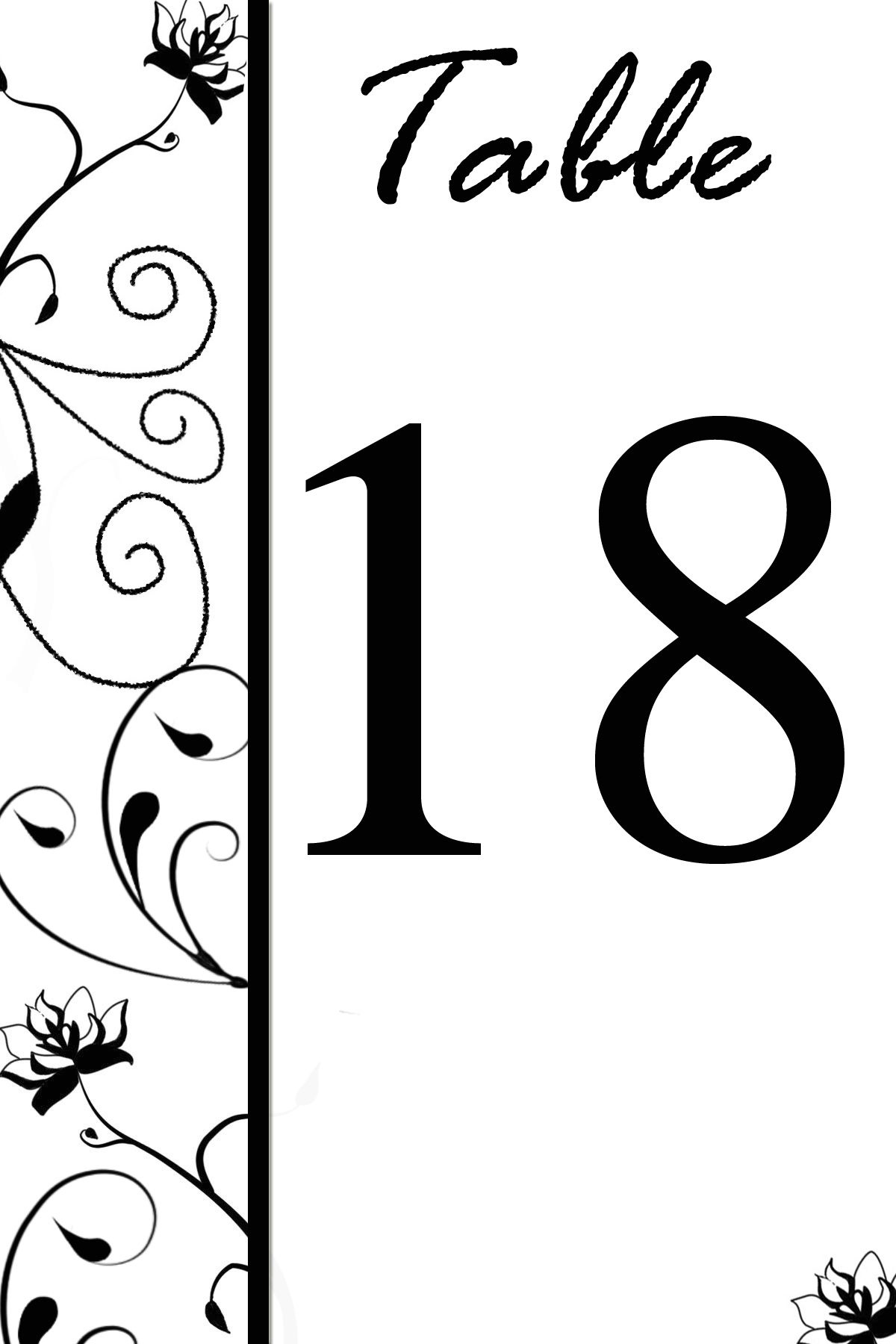 Free Calendar Templates Wedding Table Number Templates Free