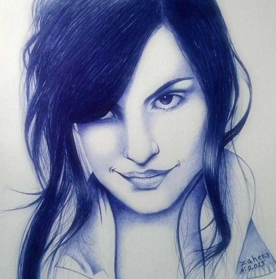 بقلمي الجاف الأزرق Ballpoint Pen Art Pen Art Art