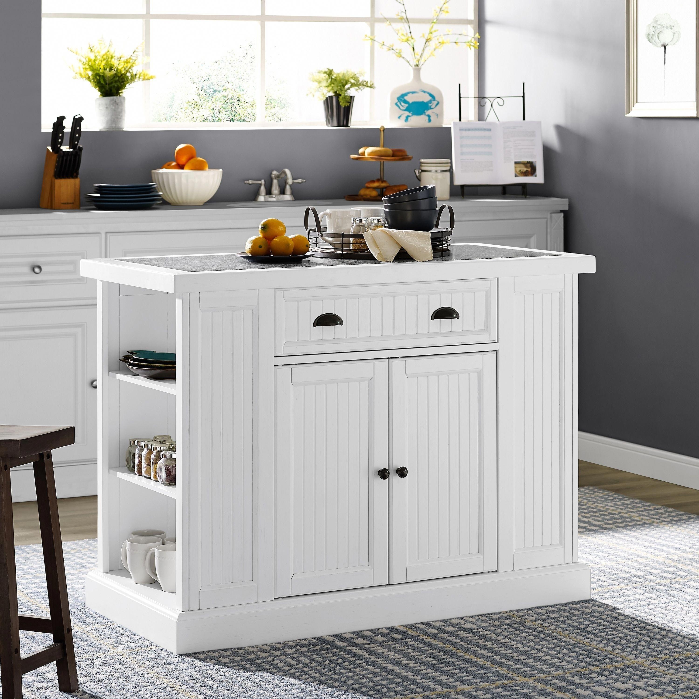 Seaside Kitchen Island In White, Crosley Furniture # ...