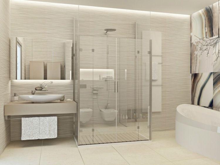 begehbare Glas-Dusche und schöne beige Nuancen im Bad | If I had a ...