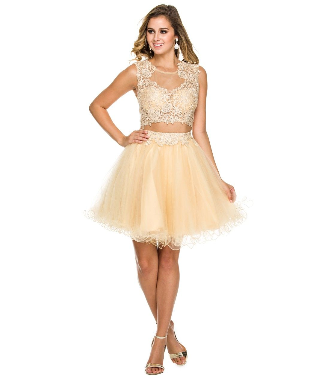 Gold Lace Two Piece Homecoming Dress | Homecoming Style ...