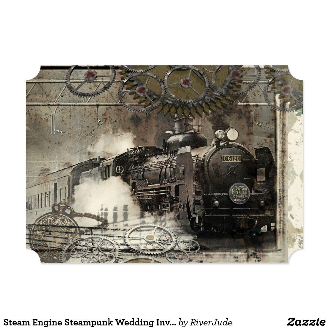 Steam Engine Steampunk Wedding Invitation Steampunk Wedding And