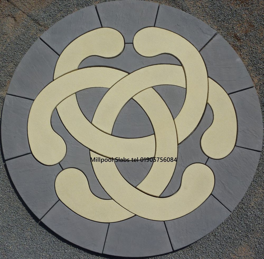 paving love knot circle patio slab stone garden feature delivery