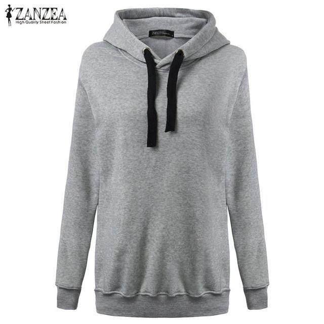 5f32073d430 Women Casual Hoodies Sweatshirts 2016 Summer Long Sleeve Hem Split Loose Solid  Hoody Pullover Leisure Outwear Tops Plus Size