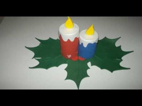 Cómo hacer velas en foamy para centro de mesa navideño en foami con