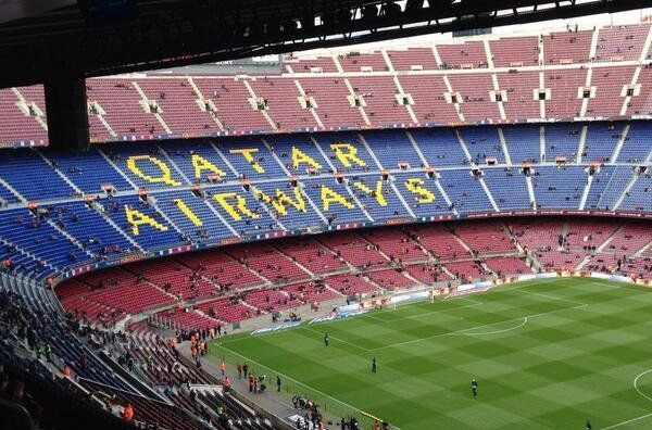 d3824ae0317cb Qatar Airways logo on the north end is added for game 23 11 13 as part the  huge sponsorship deal. East  Mes Que Un Club  West  FC Barcelona  South   Nike  ...