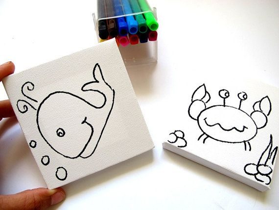 DIY kids mini canvas coloring kit- whale and crab, children canvas ...