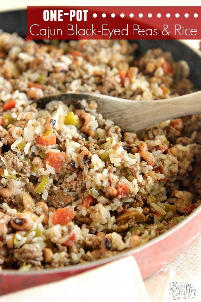 One Pot Cajun Black Eyed Peas Rice Recipe Pea Recipes Cabbage Casserole Beef Recipes