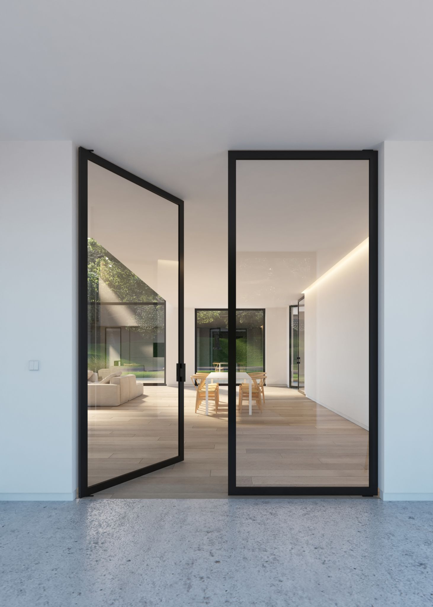 Double glass door with steel look frames portapivot for Black sliding glass doors