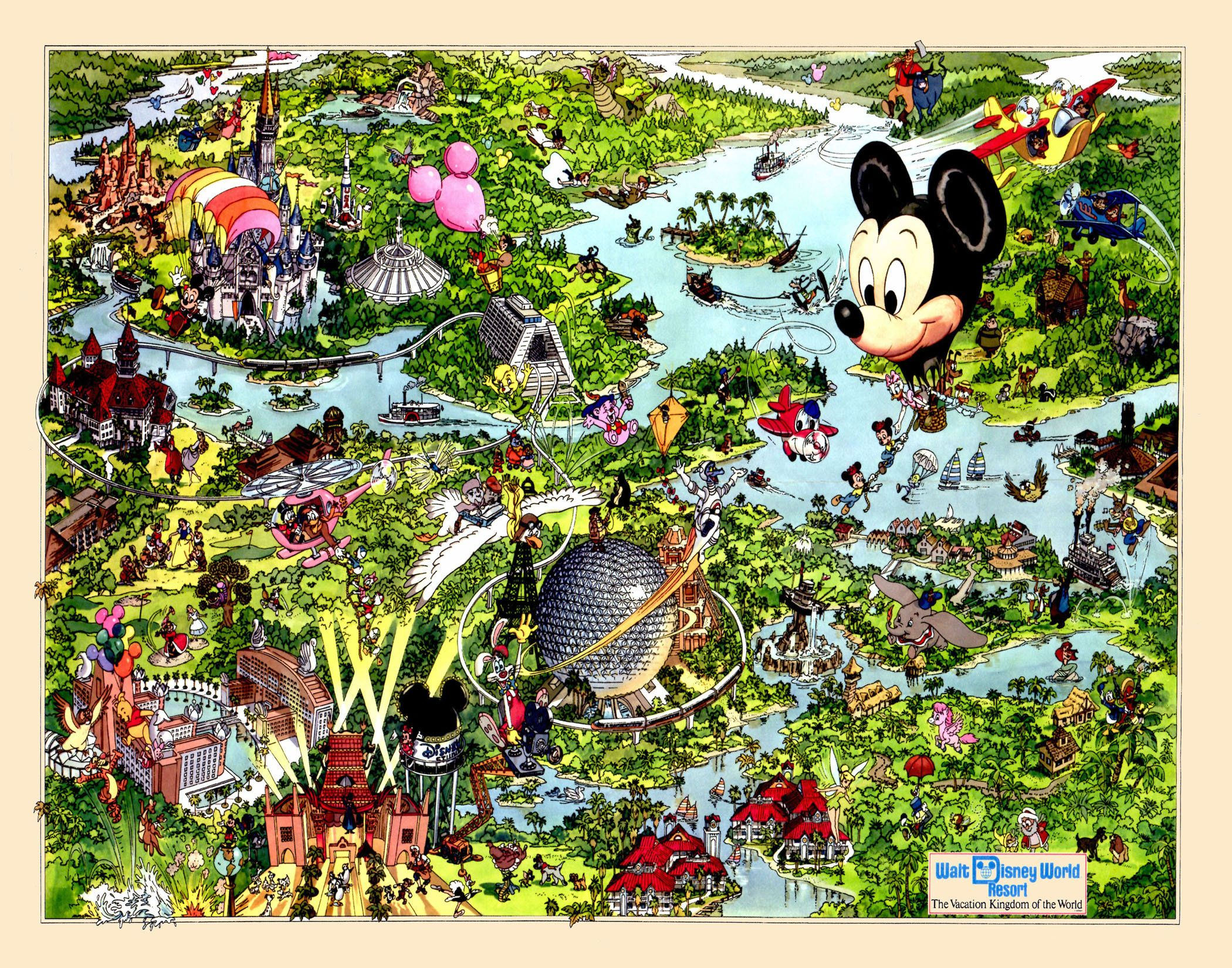 Disney World Map - Disneyland - Map - Print - Poster ...