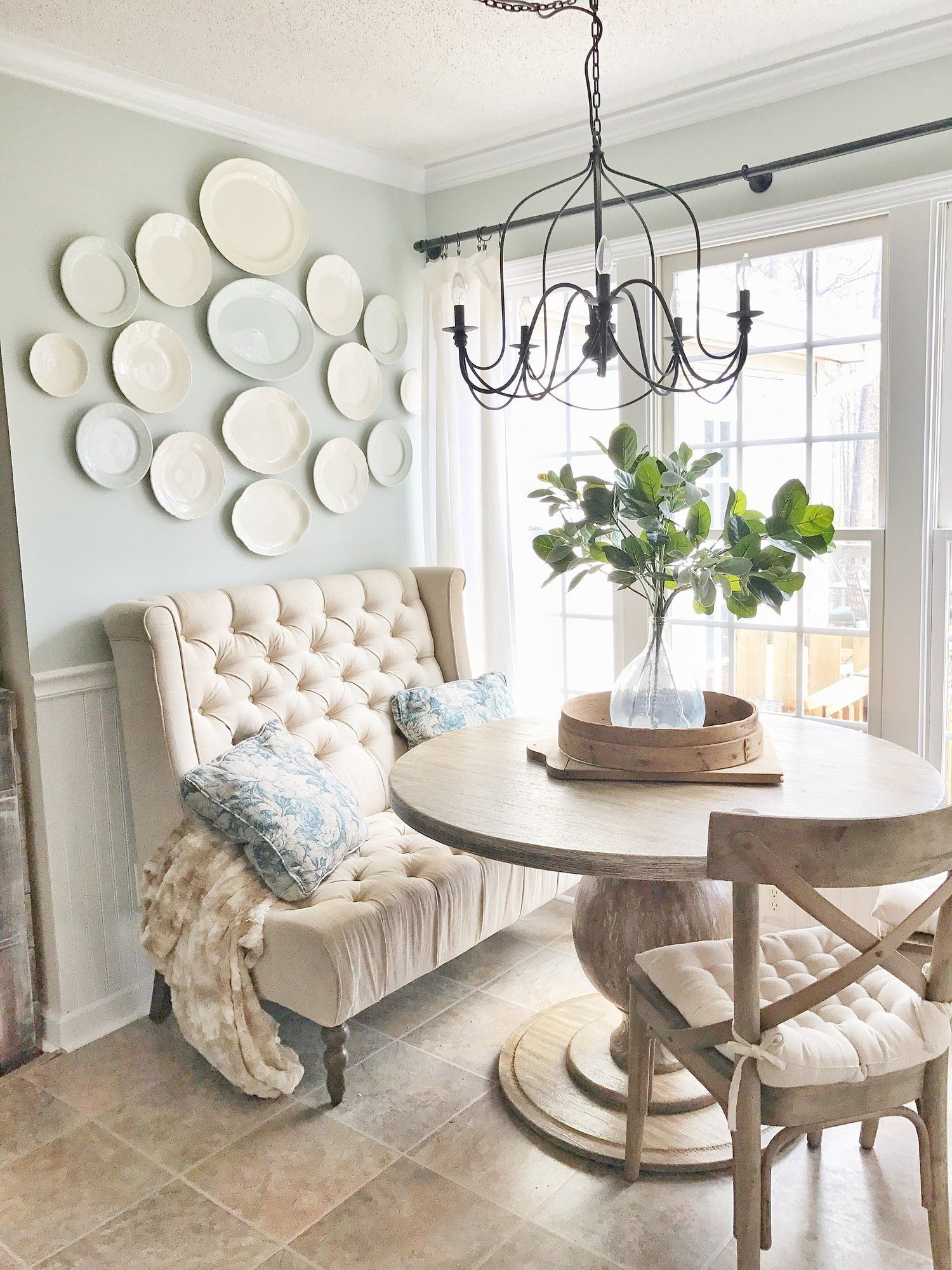Farmshouse Breakfast Nook with a French Flair Mixed Seating Options