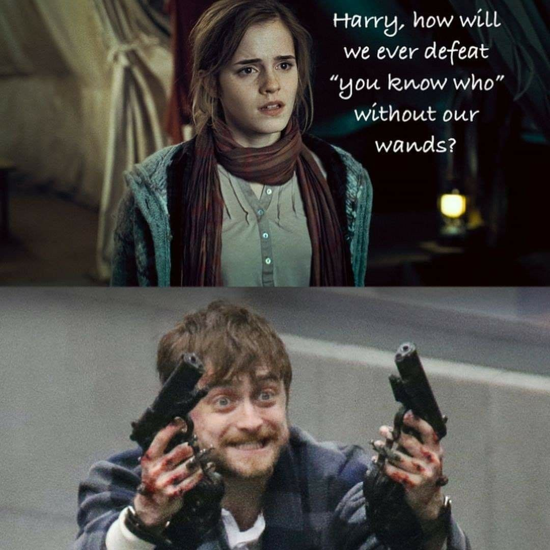 Harry Shut It Hermione Did You Know Anything About These Guns Lmao Harry Potter Jokes Harry Potter Memes Hilarious Harry Potter Puns