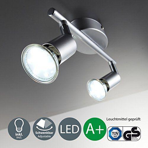 Plafonnier 2 spots pivotants avec 2 ampoules led GU10 I lampe
