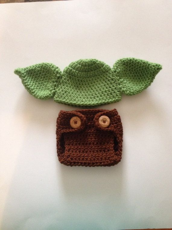 Crochet Baby Yoda Hat and Diaper Cover ,Star Wars Baby Clothes ...