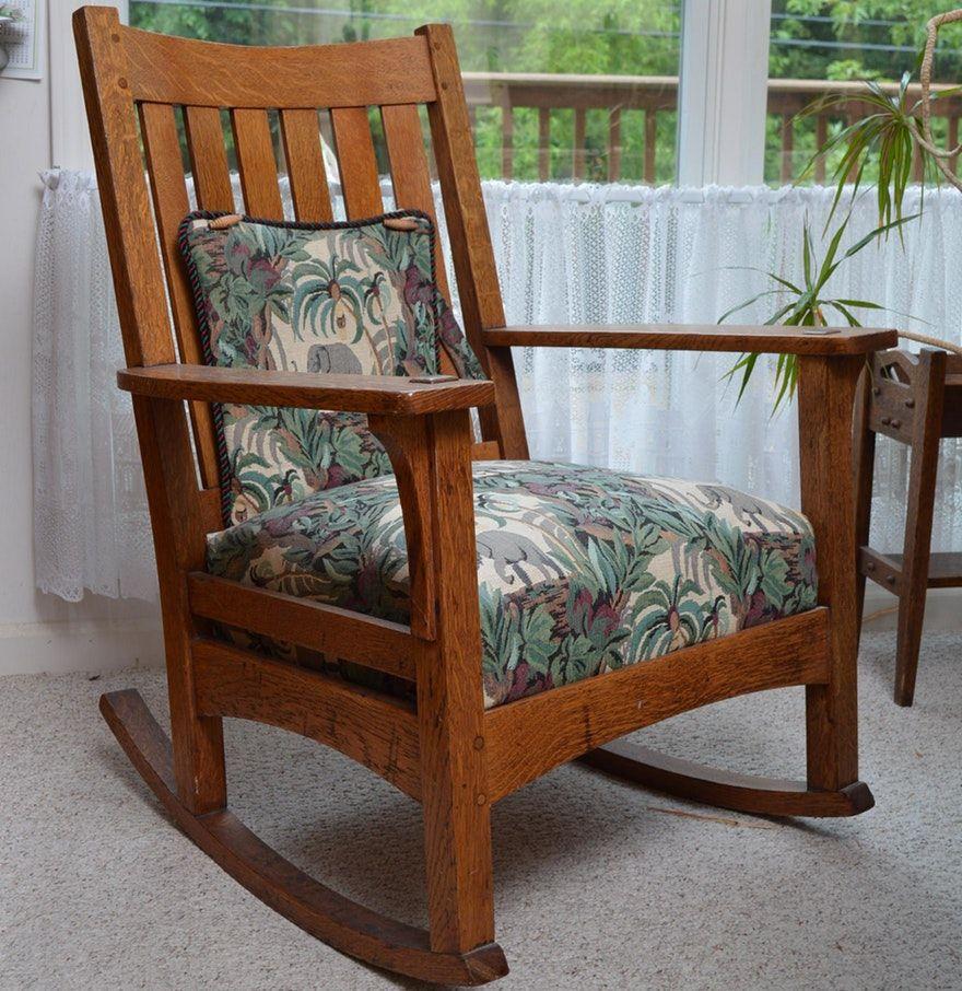 Amazing Antique L J G Stickley Mission Style Oak Rocking Chair Creativecarmelina Interior Chair Design Creativecarmelinacom